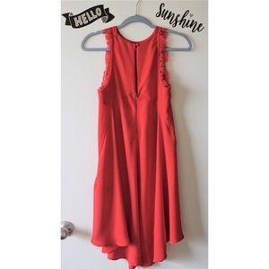 H&M Fiery Red Lace Details Shift Mini Dress S